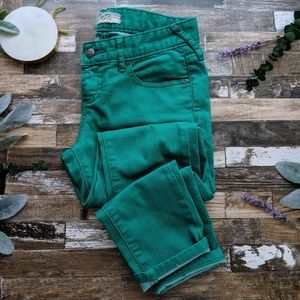 FREE PEOPLE skinny ankle jean emerald green